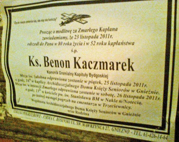 Ks. Benon Kaczmarek Kanonik Generalny Kapituły Bydgoskiej