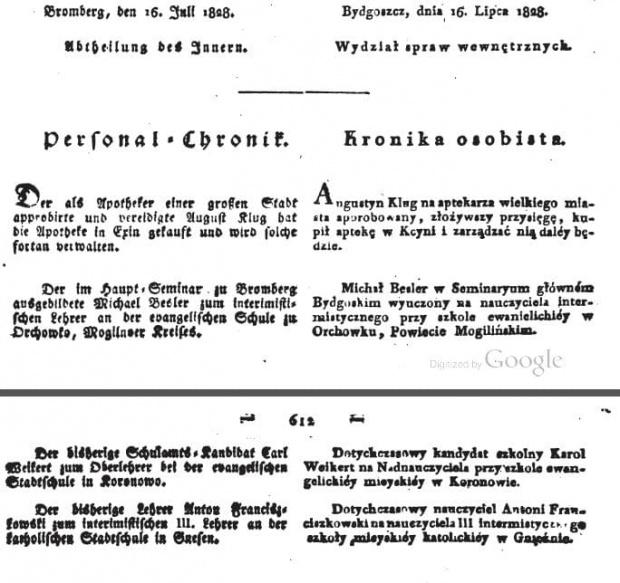 Amtsblatt 1828 Michał Basler