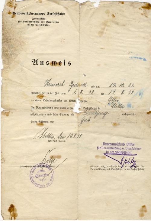 Ausweis Stettin 1938